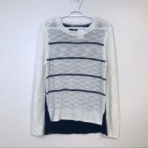 NWT 360 Sweater Striped Open Knit Navy White L